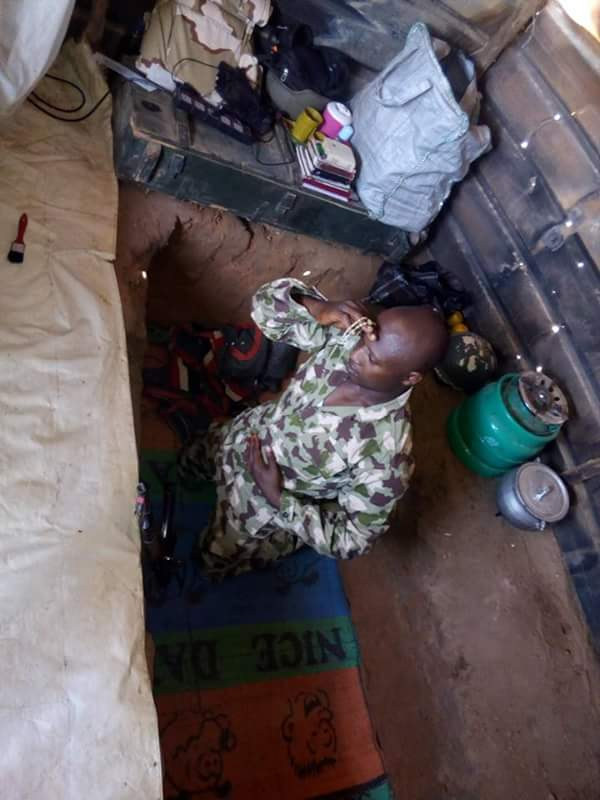 "Soldier Sleeps In ""Grave"" And Fights Boko Haram (Photos)"