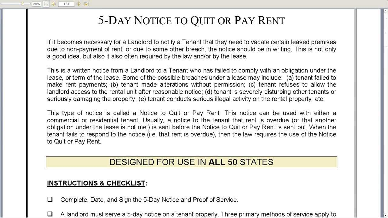 do i have to pay rent after being issued a quit notice