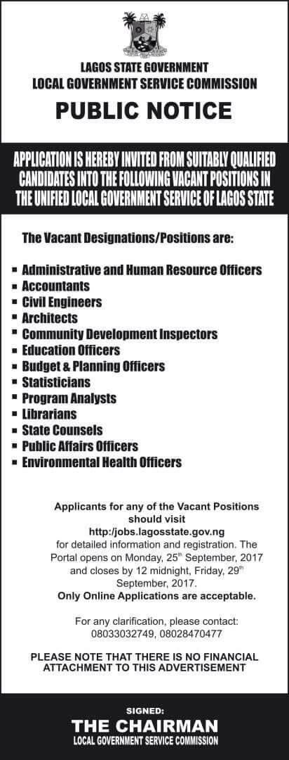 Lagos State Local Government Service Commission Recruitment