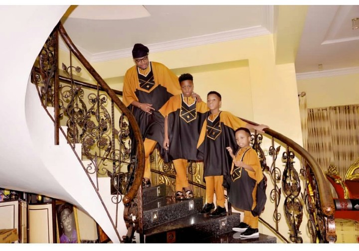 E-money And His 3 Sons Rock Matching Agbada In New Photos