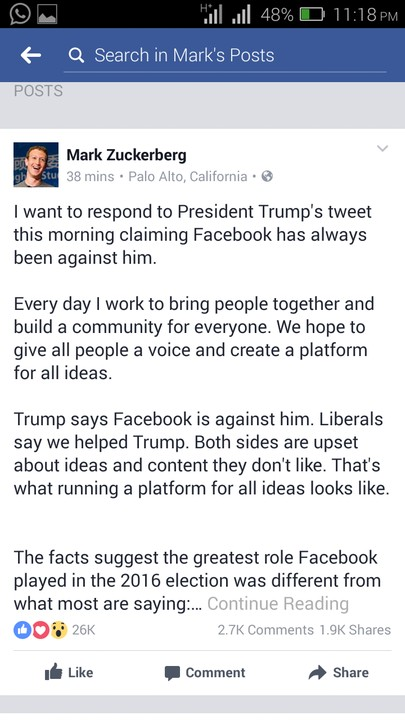 Mark Zuckerberg Responds To Trump's Claim Against Him