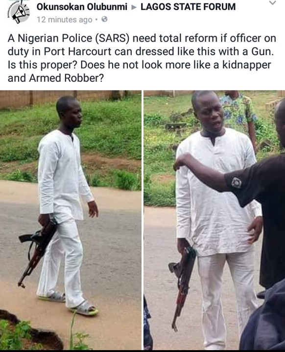 Policeman On Duty With Gun In Rivers Dressed In Native Outfit (Photos)