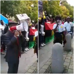 Members of the Indigenous People of Biafra (IPOB) marched to the British Embassy in Berlin, Germany to protest the Nigerian army presence in the south east. Source: Naij.com
