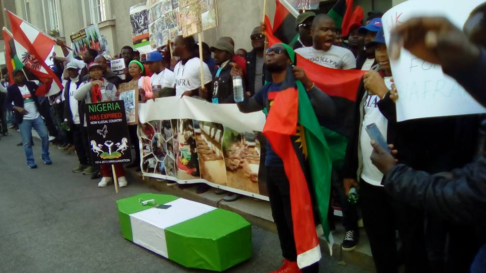 IPOB Members In Austria Protest With Coffin At British Embassy