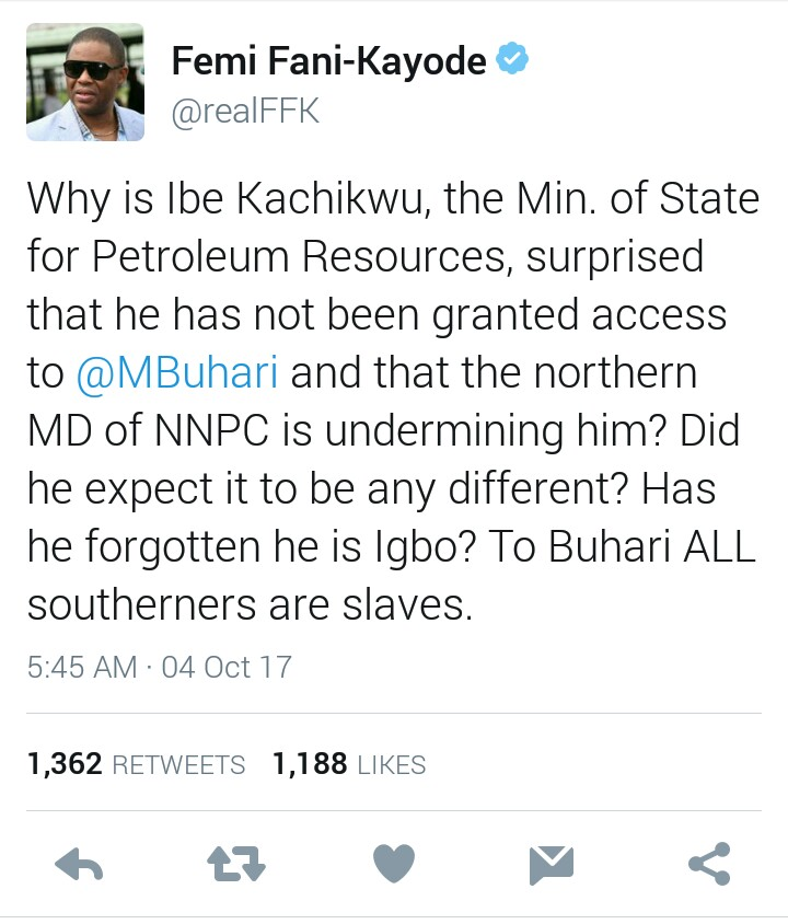 "FFK: ""Why Ibe Kachikwu Has Not Seen Buhari. PMB Sees All Southerners As Slaves"""