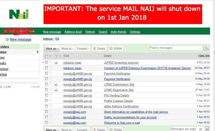 Naij Mail - Shutting down, Jan 1st, 2018.