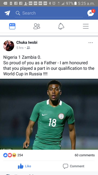 Alex Iwobi's Father Celebrates Him Over Russia 2018 World Cup Qualification