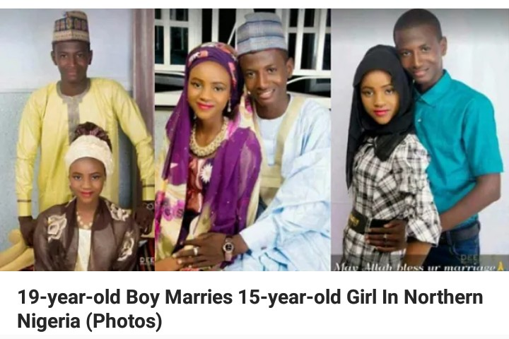 ... this couple said to be a 19-year-old groom who wedded his 15-year-old  bride in Northern Nigeria. A social media user shared the photos and  congratulated ...