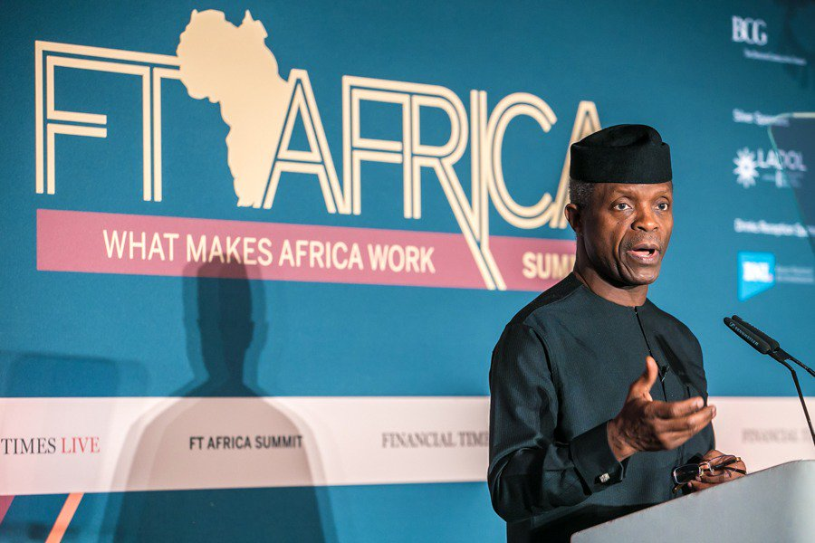 VP Osinbajo Delivering A Speech At The Financial Times Africa Summit (Photos)