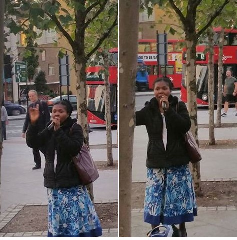 African Woman Spotted Preaching With Microphone On The Streets Of London (Photos)