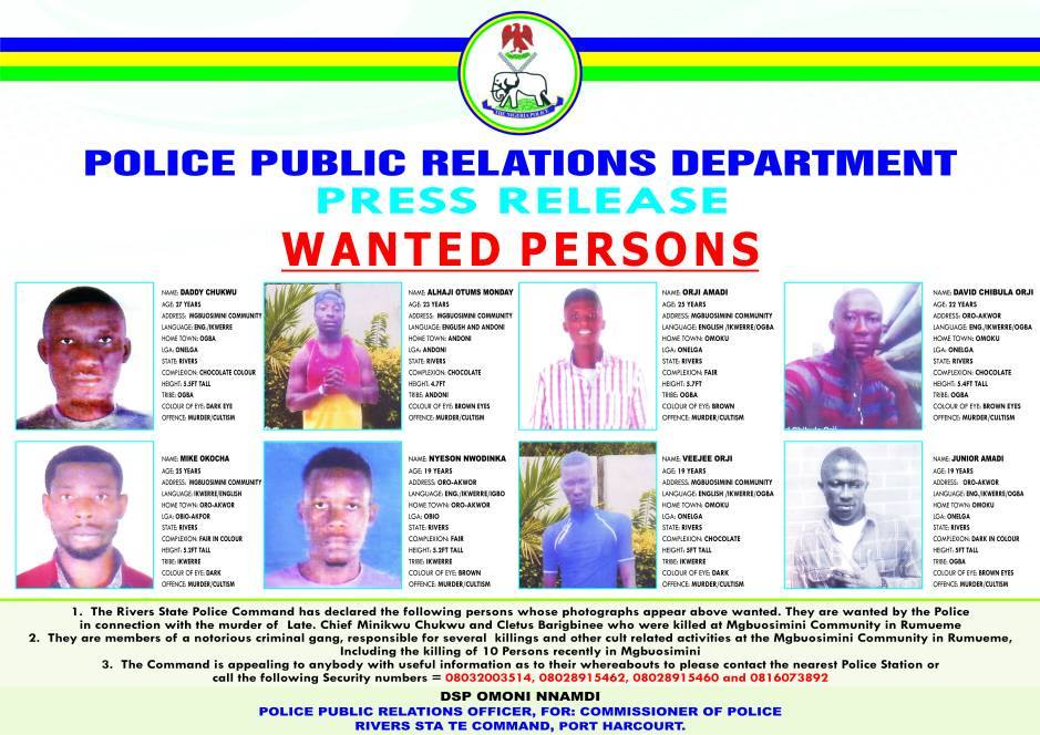 Rivers state police command declares 5 notorious Omoku cultists wanted