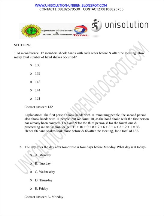 free total scholarship past questions and answers education nigeria