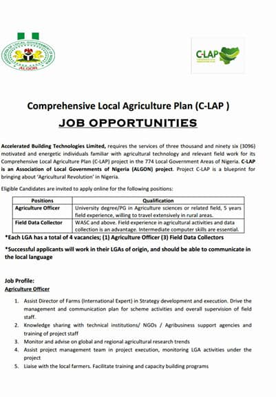 Algon to engage over 3000 farmers jobsvacancies nigeria last date to apply is monday october 23 2017 application received after the deadline will not be considered only shortlisted candidate will be called malvernweather Gallery