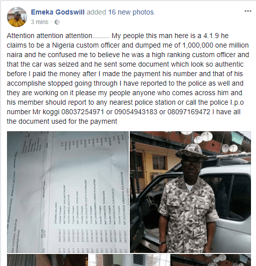 Nigerian Man Cries Out On Facebook After A Fake Custom Officer Dupe Him Of 1M