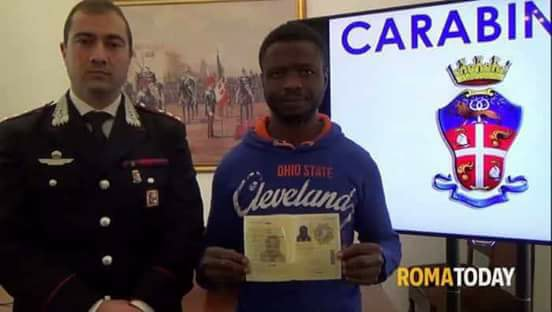 Photos:Nigerian Man Stops Robbery Attack In Italy, Gets Rewarded By Authorities