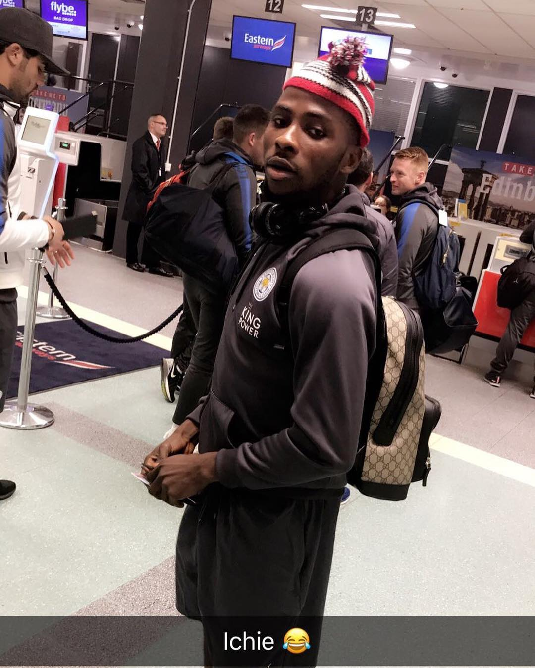 Image result for Kelechi Iheanacho Rocks Igbo Traditional Cap To Leicester City Vs Swansea Game