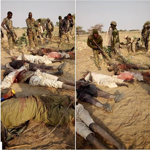 Soldiers Pose With Dead Bodies Of Boko Haram Members After Attack In Sambisa