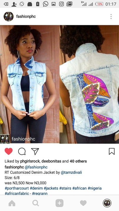 Ankara Denim Jacket For Ladies Port Harcourt Fashion Nigeria