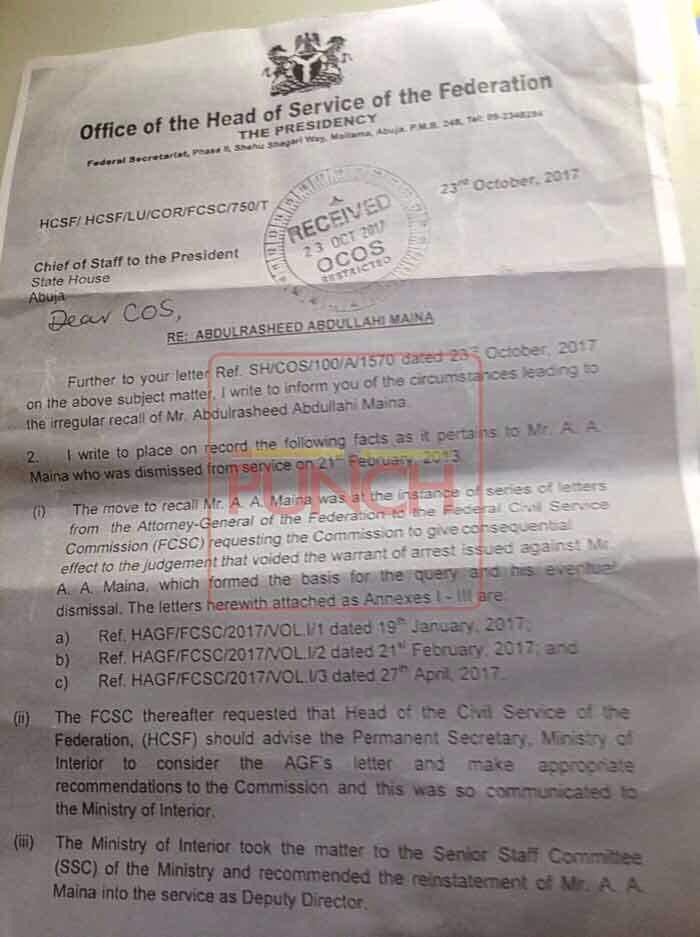 LEAKED Head of Service Memo. Photo: Head of Service, Oyo Ita's leaked memo to the Presidency