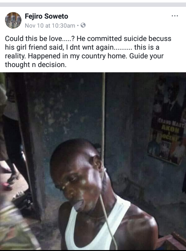 Image result for Man commits suicide in Delta state after his girlfriend called off their relationship