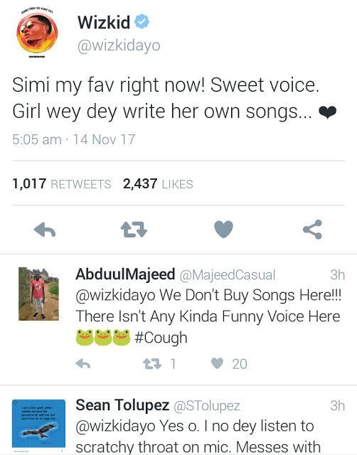 {filename}-Wizkid Praises Simi, But Fans See It As A Shade At Davido (pictures)