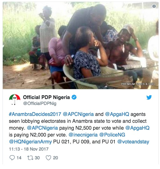 Anambra: APC, APGA Agents Paying 2,500, 2000 Each To Buy Votes – PDP Claims