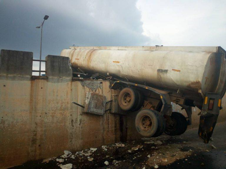 Accident Leaves Fuel Tanker Suspended On Flyover During Anambra Election