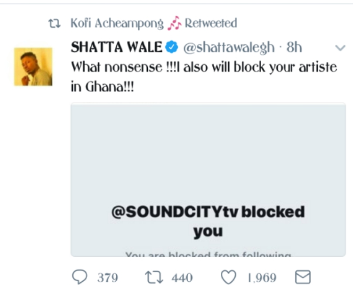 Ghanaian Singer, Shatta Wale Under Fire For Reacting To Being Blocked By Soundcity TV