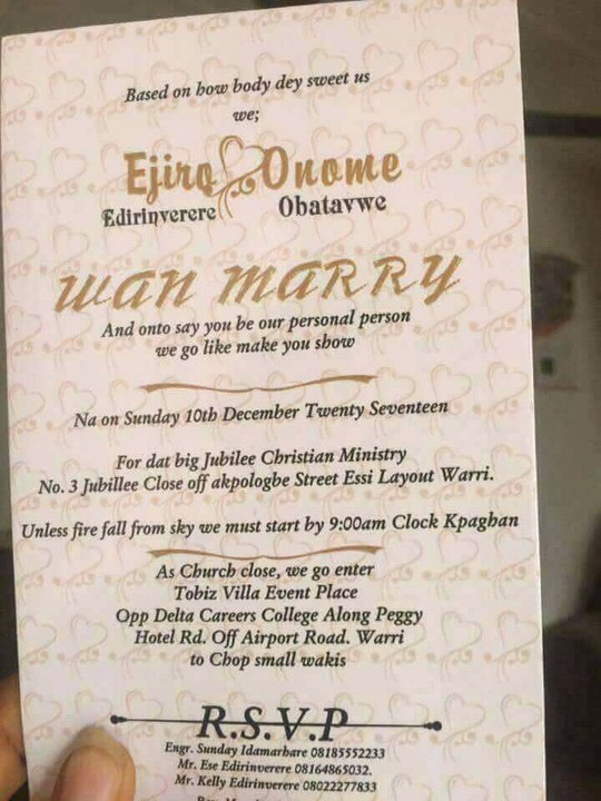 See this wedding invitation card written in pidgin english romance see this wedding invitation card written in pidgin english romance nigeria stopboris Image collections