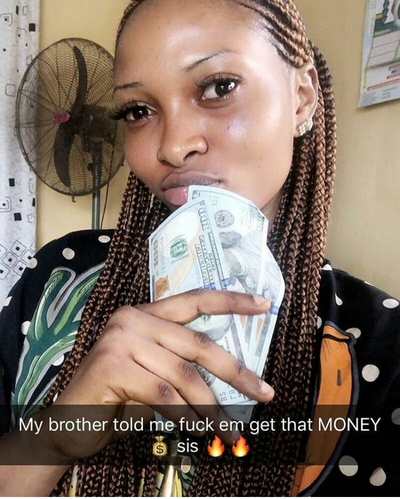 """my brother told me to have sex & get money"""" - lady flaunts dollars"""