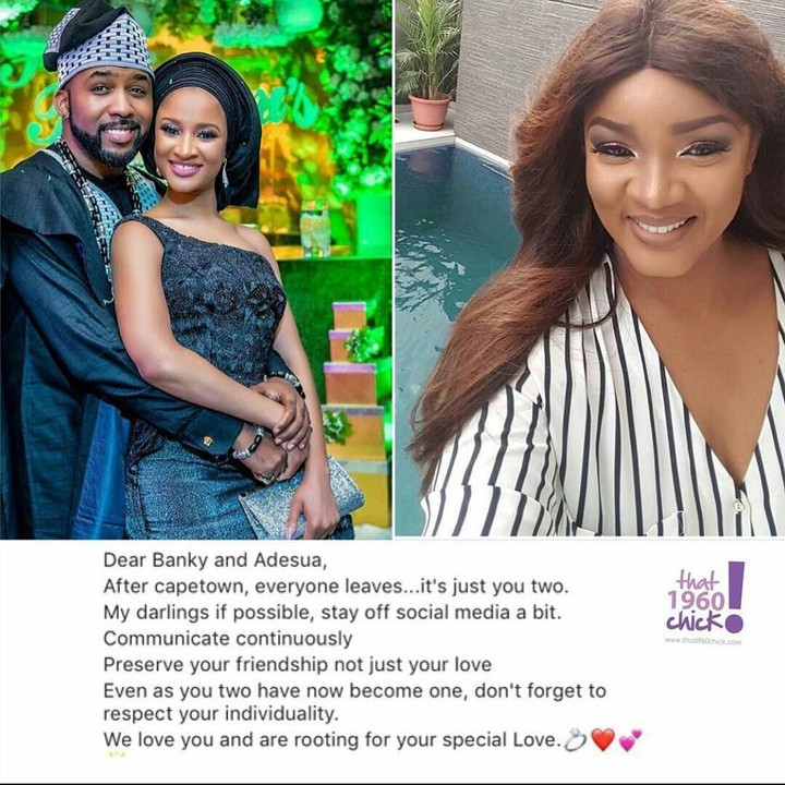 Stay off the social media after Cape Town -Omotola advises Banky and Adesua