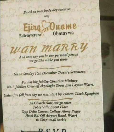 Wedding invitation card of a warri couple written in pidgin wedding invitation card of a warri couple written in pidgin english events nigeria stopboris Image collections