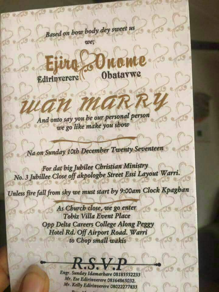 See The Funniest Nigerian Wedding Invitation Cards For Our Upcoming Couples Events Nigeria