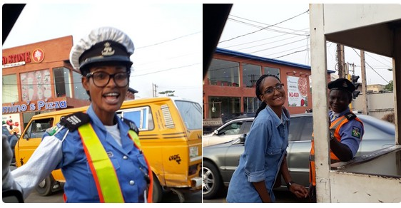 Daughter Of Popular Lagos Traffic Warden Visits Her At Work (Photos)