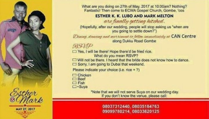 See The Funniest Nigerian Wedding Invitation Cards For Our