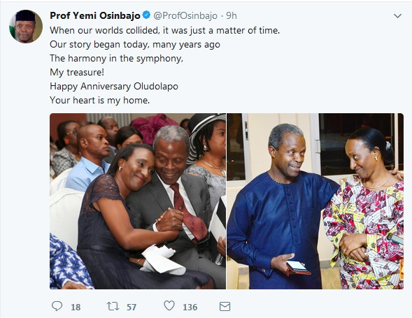 28th Wedding Anniversary Gift: Dolapo & Yemi Osinbajo Celebrate 28th Wedding