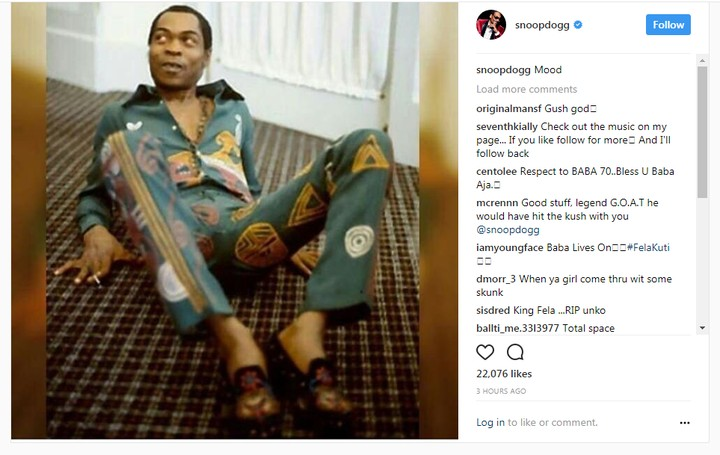 American Rapper, Snoop Dogg Shares Photo Of Fela Kuti On His Instagram Page