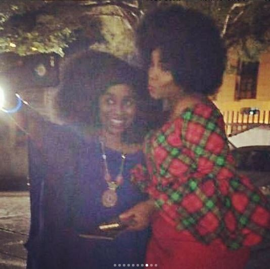 Omotola Rocks Afro, Pictured With Tiwa Savage At The Total  Christmas Party