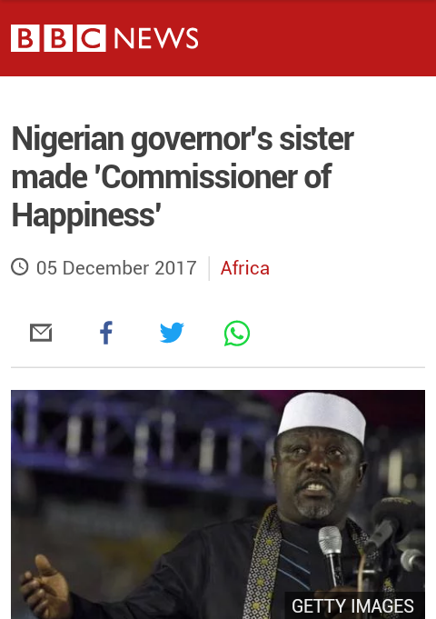 See BBC Report On Imo State Commissioner Of Happiness (Photo)