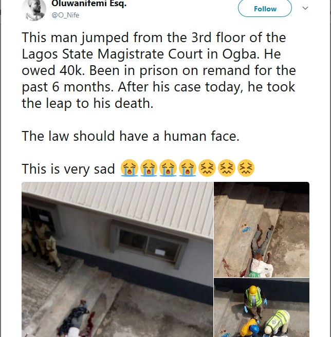 Man Jumps From Lagos Magistrate Court 3rd Floor, Dies