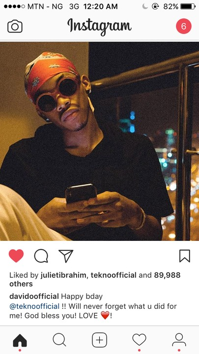 Davido To Tekno On His 25th Birthday - I Will Never Forget What You Did For Me