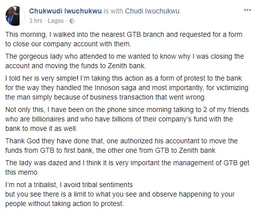 6439188 chudi1 jpeg93f2c4bcdfde1a6cb6fa3e42337604eb - Man Closes Company Account With GT Bank Over Innoson Saga (Photo)
