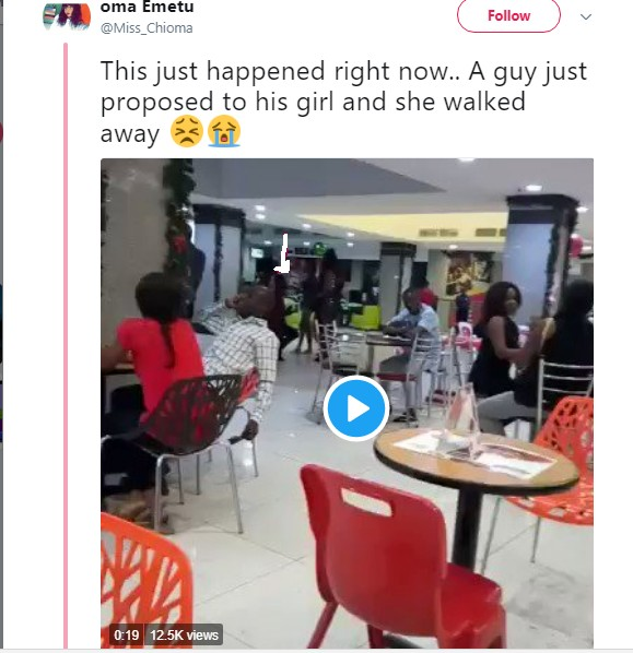 Lady Rejects Marriage Proposal From Her Boyfriend At A Fast Food Restaurant