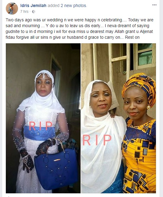 6489168 screenshot2 jpeg1190646d7dad52a810e9b533aff0f04e - Two Days After Her Wedding, Lady Dies Of A Slight Stomach Ache (Photos)