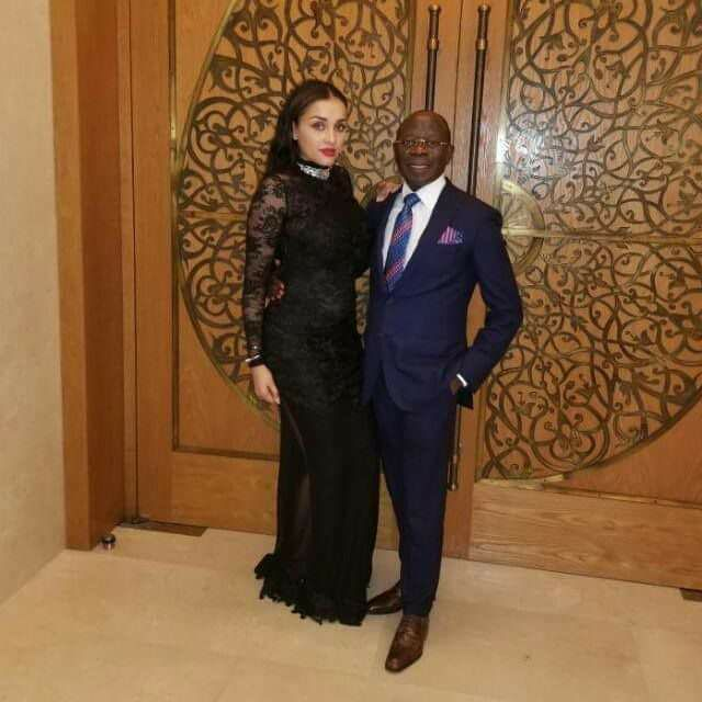 Online Users React, As Adams Oshiomhole Poses With His Pretty Wife (Photos)