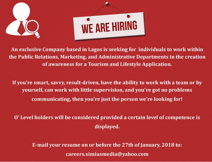 PR, Marketing And Administrative Personnel Wanted - Jobs