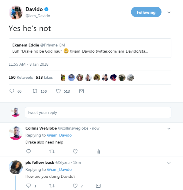 "6521938 screenshot5 pngdef261b0a461c0a7257ff9e6fbc63835 - Davido Replies Follower Who Remind Him ""Drake No Be God"" After He Gushes About Drake Playing His Song"