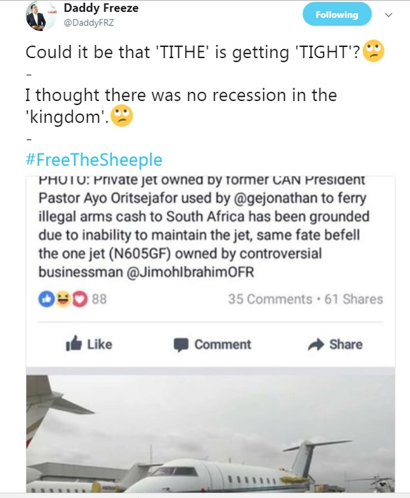 Freeze Reacts To Pastor Ayo Oritsejafor's Private Jet Grounded At The Airport