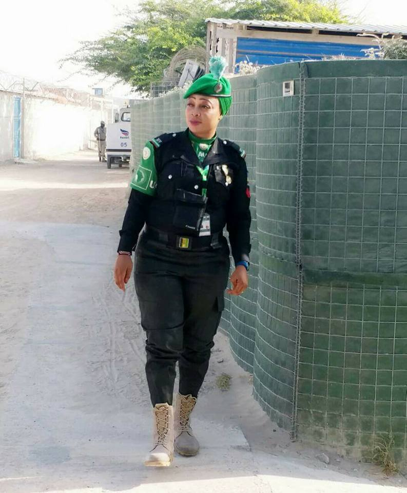 Pretty Nigerian Policewoman Arrives Home After Peacekeeping Mission (Photos)