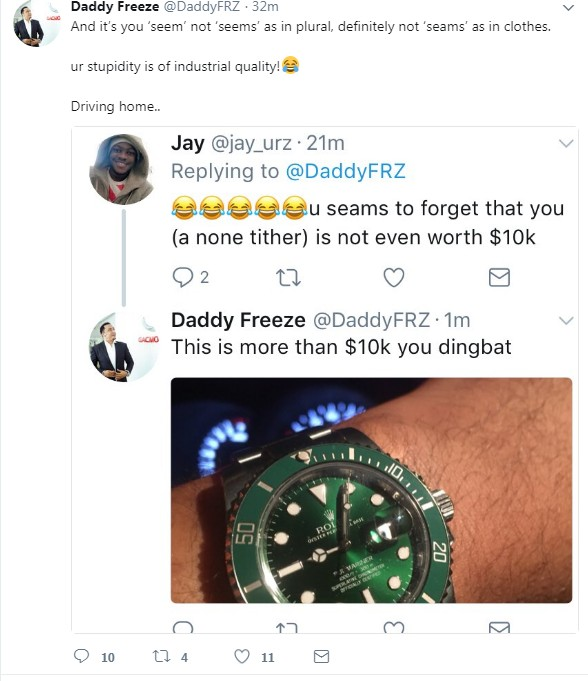 6533748 screenshot1 jpeg0e2f556455f0df226841c8ce51bea38f - Daddy Freeze Blast Twitter User Who Said He Is Not Worth $10k (photos)